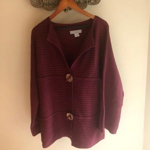 Modern Soul Maroon Cardigan Oversized Buttons